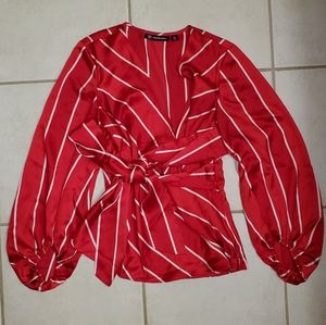 International Concepts XS red blouse white stripes
